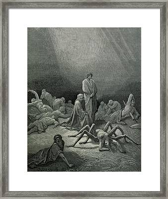 Virgil And Dante Looking At The Spider Woman, Illustration From The Divine Comedy Framed Print by Gustave Dore
