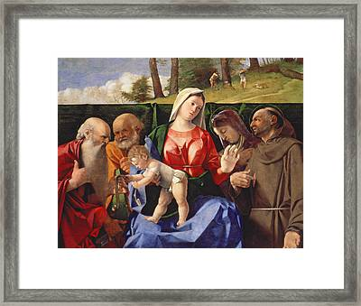 Virgin And Child With Saints Jerome, Peter, Clare And Francis Framed Print by Lorenzo Lotto