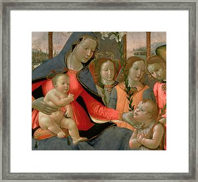 Virgin And Child With St John The Baptist And The Three Archangels Framed Print by Bastiano Mainardi