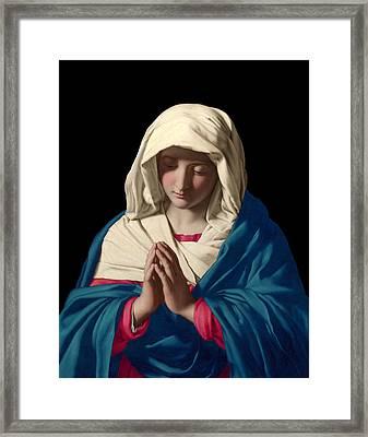 Virgin Mary In Prayer Framed Print by Sassoferrato