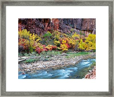 Virgin River And Rock Face At Big Bend Framed Print by Panoramic Images