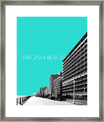 Virginia Beach Skyline Boardwalk  - Aqua Framed Print by DB Artist