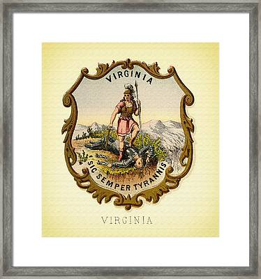Virginia Coat Of Arms - 1876 Framed Print by Mountain Dreams