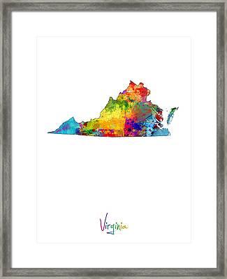 Virginia Map Framed Print by Michael Tompsett