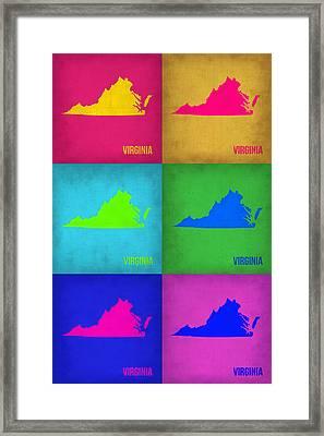 Virginia Pop Art Map 1 Framed Print by Naxart Studio