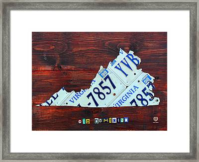 Virginia State License Plate Map Art On Fruitwood Old Dominion Framed Print by Design Turnpike