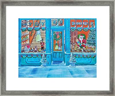 Visit To The Toy Shop Santa Framed Print by Gordon Wendling