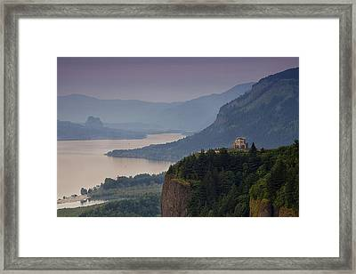 Vista House And The Gorge Framed Print by Andrew Soundarajan
