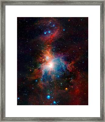 Vista Telescope Infrared View Orion Nebula Enhanced Framed Print by L Brown