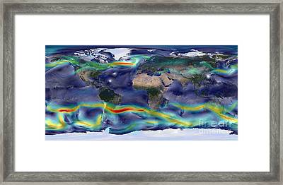 Visualization Of Global Winds Framed Print by Stocktrek Images