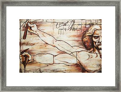 Vitruvian Barber Framed Print by Charles Edwards