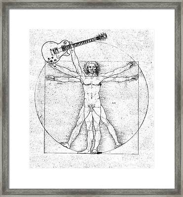 Vitruvian Guitar Man Bw Framed Print by Jon Neidert