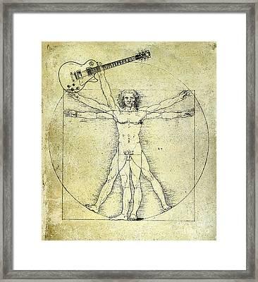 Vitruvian Guitar Man Framed Print by Jon Neidert