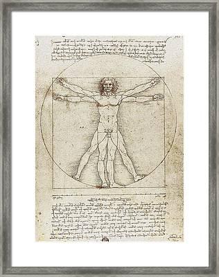 Vitruvian Man By Leonardo Da Vinci Framed Print by Serge Averbukh