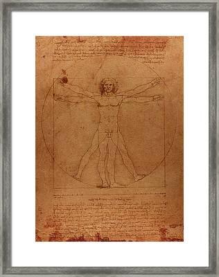 Vitruvian Man By Leonardo Da Vinci Sketch On Worn Parchment Framed Print by Design Turnpike