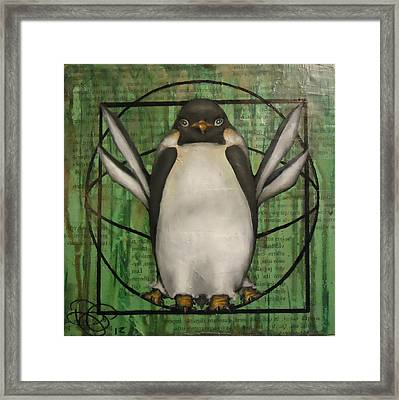 Vitruvian Penguin Subjectivity Of Ideal Proportions Framed Print by Dustin Parr