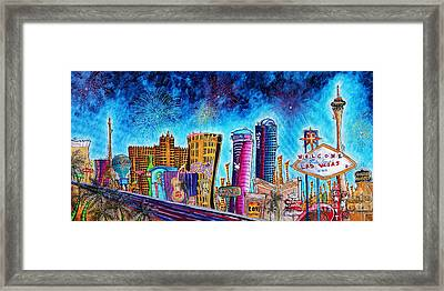 Viva Las Vegas A Fun And Funky Pop Art Painting Of The Vegas Skyline And Sign By Megan Duncanson Framed Print by Megan Duncanson