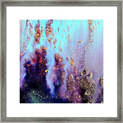 Vivid Abstract Art Fluid Painting-coral Reef By Kredart Framed Print by Serg Wiaderny