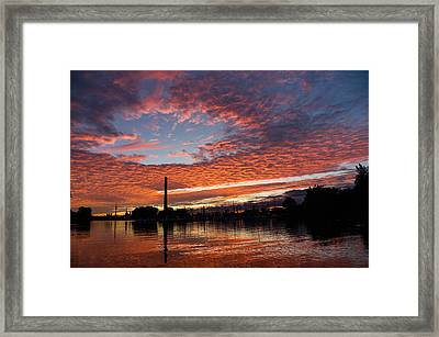 Vivid Skyscape - Summer Sunset At Toronto Beaches Marina Framed Print by Georgia Mizuleva