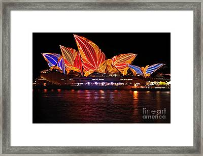 Vivid Sydney By Kaye Menner - Opera House ... Leaves Framed Print by Kaye Menner