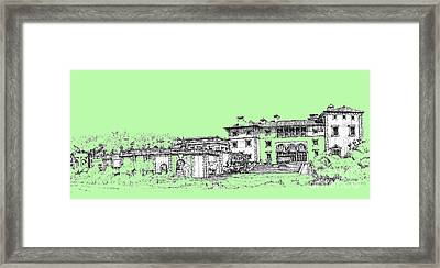 Vizcaya Museum And Gardens In Pistachio Green Framed Print by Building  Art