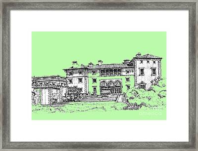 Vizcaya Museum In Pistachio Framed Print by Building  Art