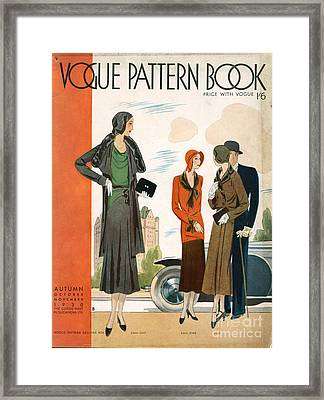Vogue Pattern Book Cover 1930 1930s Uk Framed Print by The Advertising Archives