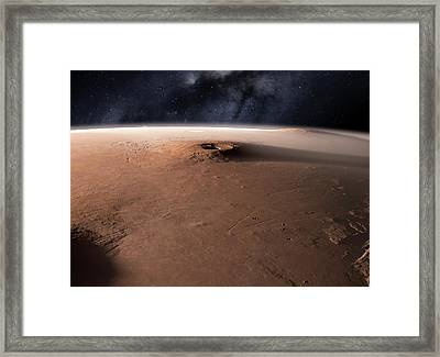 Volcano On Mars Framed Print by Detlev Van Ravenswaay