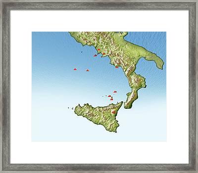 Volcanoes In Italy Framed Print by Mikkel Juul Jensen