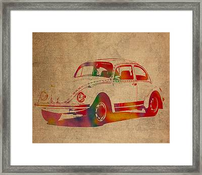 Volkswagen Beetle Vintage Watercolor Portrait On Worn Distressed Canvas Framed Print by Design Turnpike