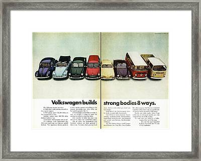 Volkswagen Builds Strong Bodies In 8 Ways Framed Print by Georgia Fowler