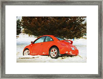 Volkswagen Snow Day Framed Print by Andee Design