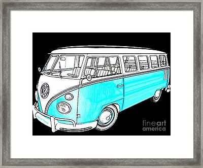 Volkswagen Turquoise Framed Print by Cheryl Young