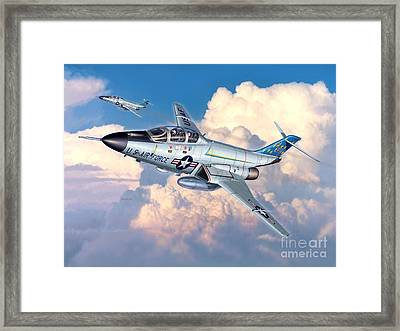 Voodoo In The Clouds - F-101b Voodoo Framed Print by Stu Shepherd