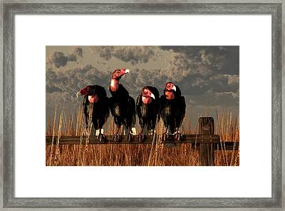 Vultures On A Fence Framed Print by Daniel Eskridge