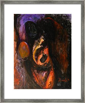 Vultures With Infant Charms Framed Print by Christophe Ennis