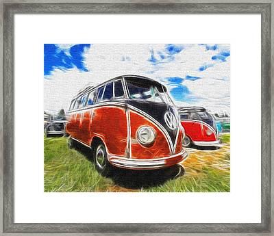 Vw Bus Canvas Paint Framed Print by Steve McKinzie