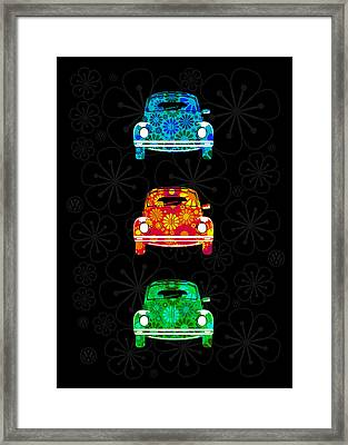 Vw Flower Power Framed Print by Mark Rogan