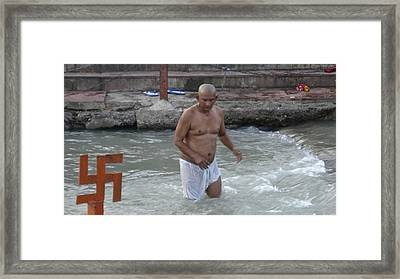 Wading At The River Ganges Framed Print by Russell Smidt