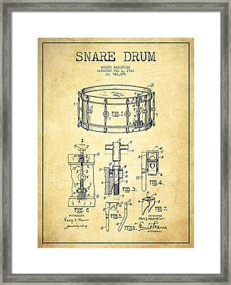 Waechtler Snare Drum Patent Drawing From 1910 - Vintage Framed Print by Aged Pixel