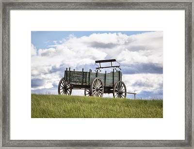 Wagon On A Hill Framed Print by Eric Gendron