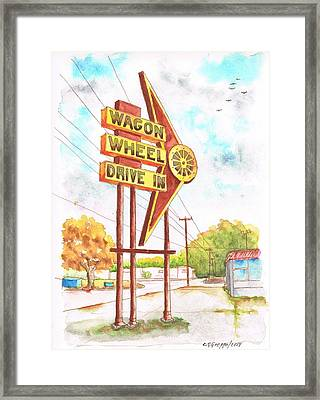 Wagon Wheel Drive In In Big Spring - Texas Framed Print by Carlos G Groppa