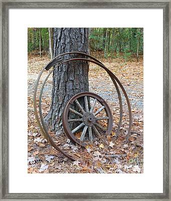 Wagon Wheels Framed Print by Kitty Mecham