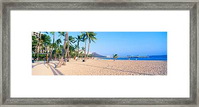 Waikiki Beach And Diamond Head Framed Print by Panoramic Images