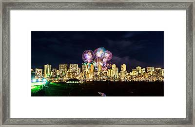 Waikiki Fireworks Celebration 3 Framed Print by Jason Chu