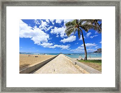 Waikiki Wall Framed Print by DJ Florek