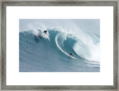 Waimea Surfers Framed Print by Sean Davey