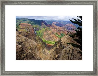 Waipo'o Falls Waimea Canyon Framed Print by Kevin Smith