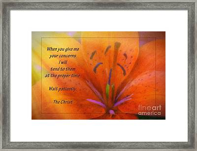 Wait Patiently Framed Print by Jean OKeeffe Macro Abundance Art