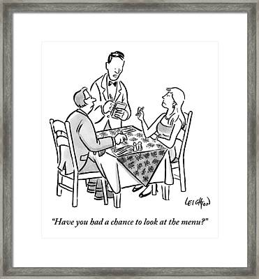 Waiter Speaks To A Couple Waiting So Long Framed Print by Robert Leighton